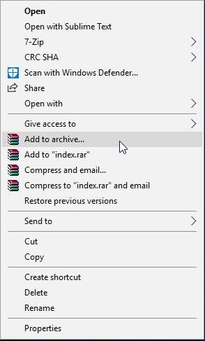 Create RAR file using winrar